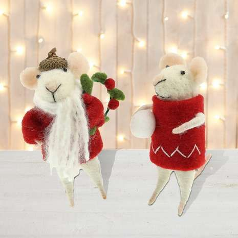 set of 4 wool mice tree decorations dunelm
