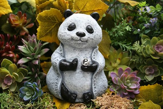 Fat Buddha Statue   Zen Panda Bear Statue   Meditating Buddha Bear    Meditation Garden Statue