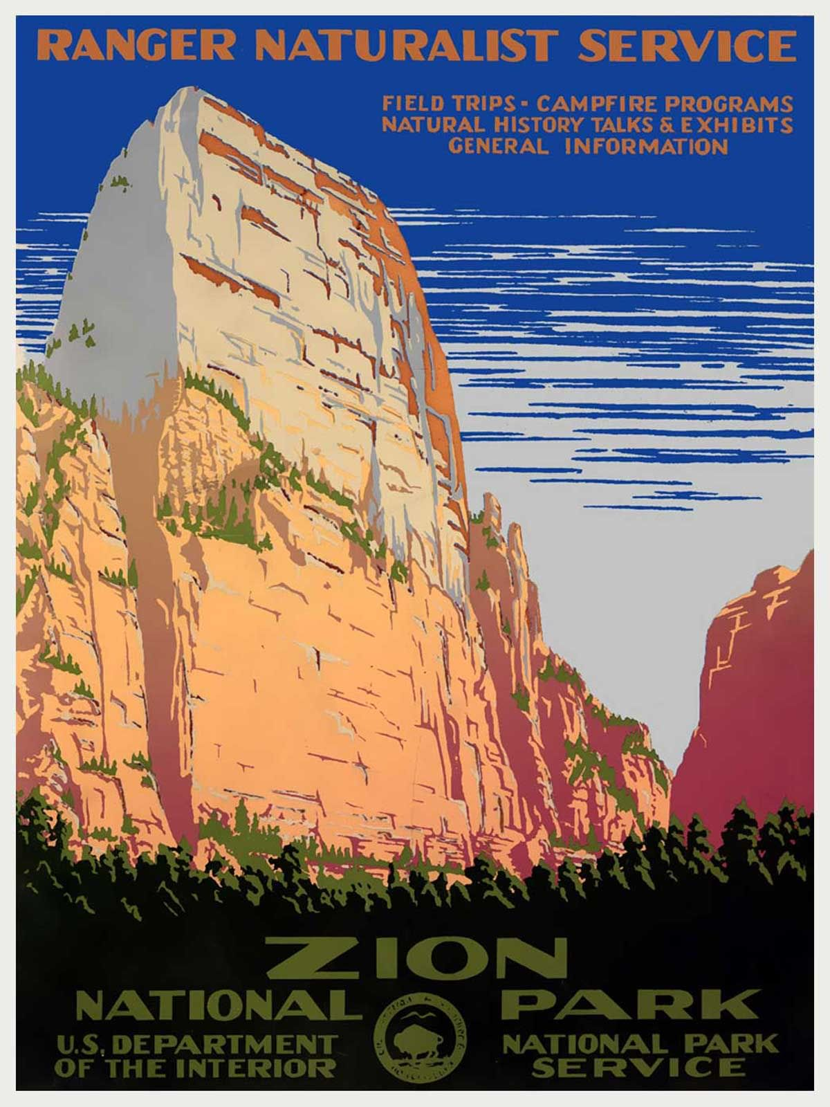 Nice Vintage National Park Posters Part - 14: This Digitally-reproduced Poster, Originally Created In The Late For Zion National  Park And The Ranger Naturalist Service, Depicts The Cliff Side Of A ...