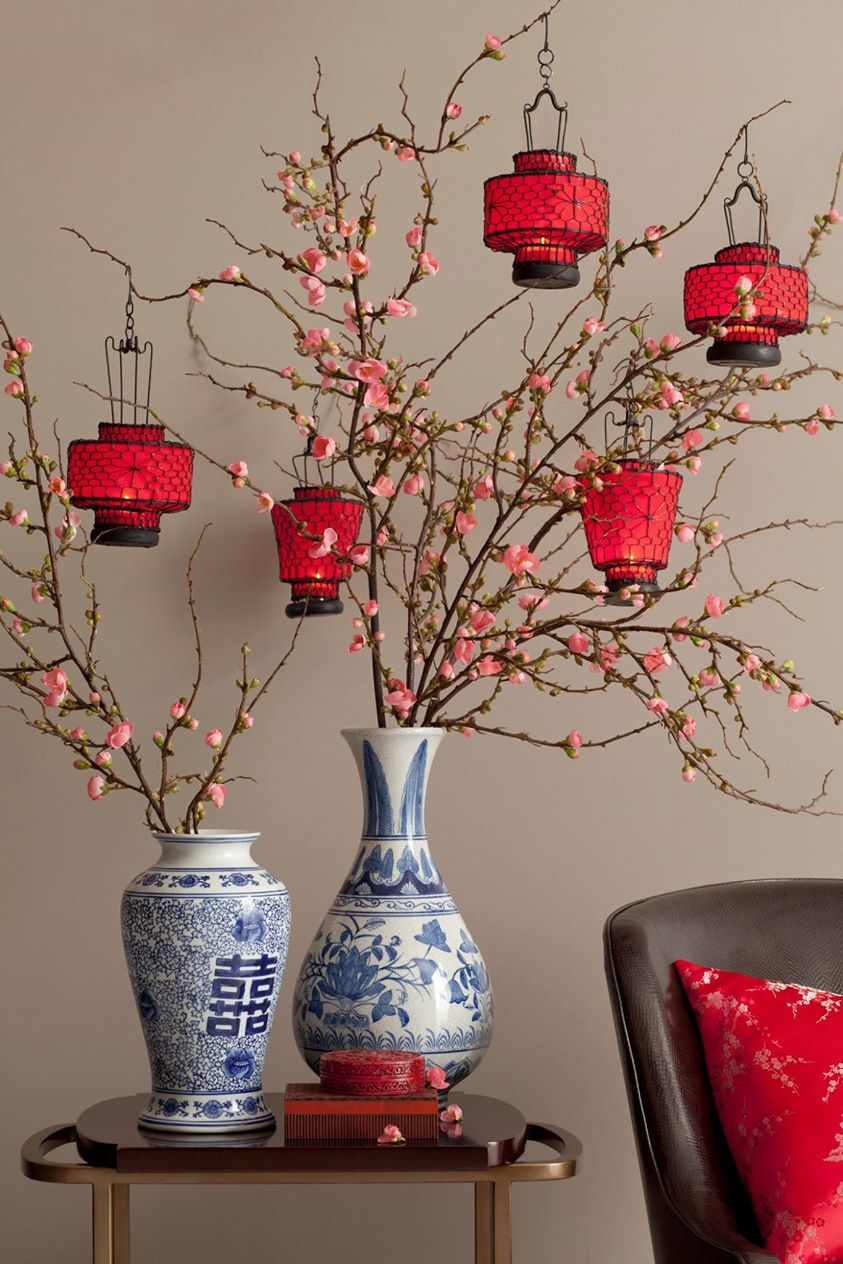 Modern chinese new year table setting - Cherry Blossom Branches With Lanterns Great Chinese New Yr Decoration