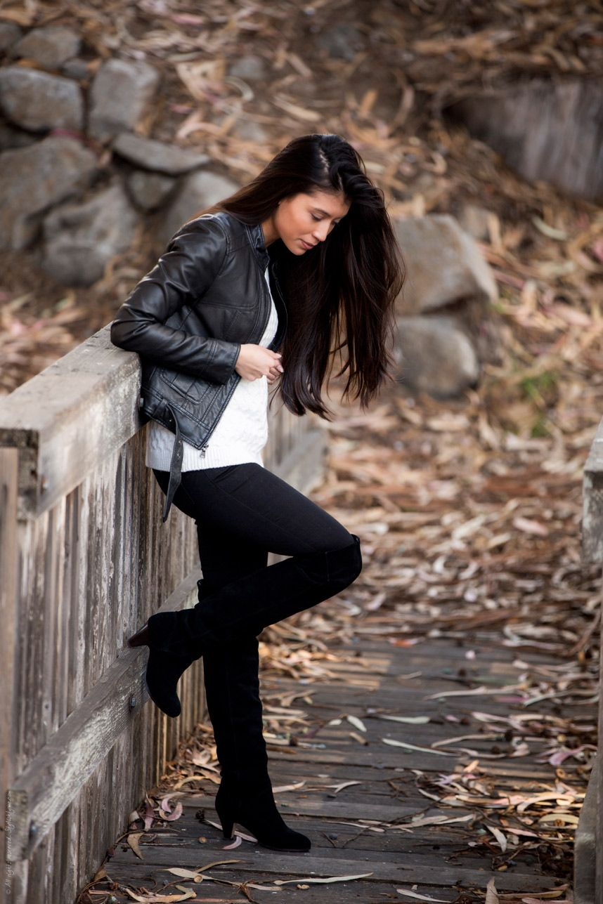 How To Wear Over The Knee Boots Over The Knee Boots High Knee Boots Outfit Womens Black Leather Jacket [ 1287 x 858 Pixel ]