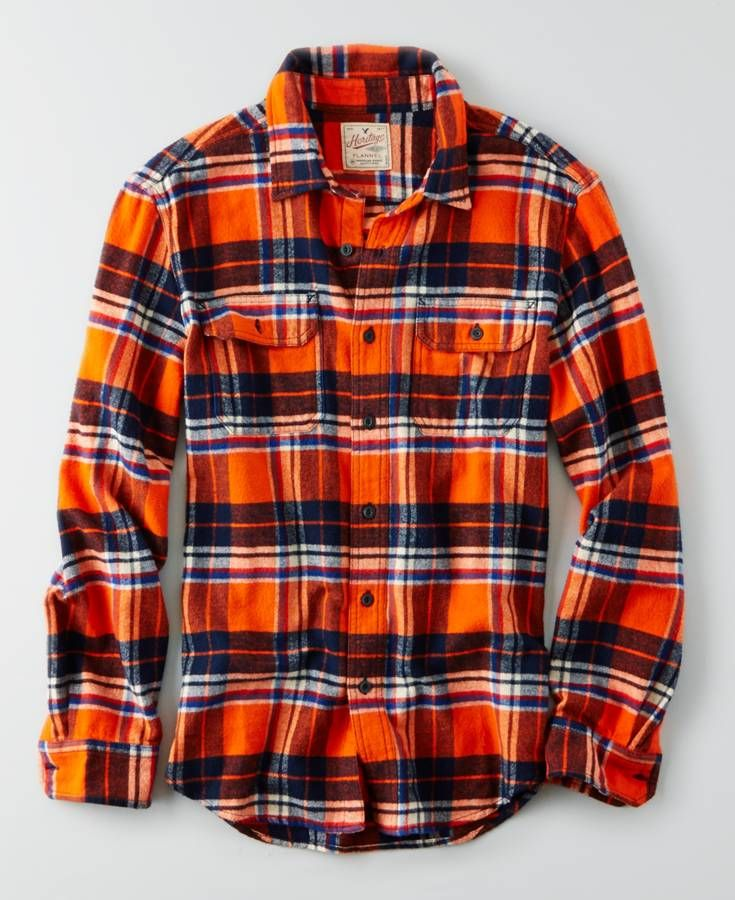American Eagle Heritage Button Down Flannel, Men's, Orange ...