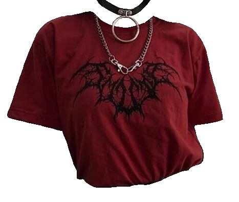 Aedpng They Make Moodboards Instagram Red Goth Shirt W Necklaces Aedpng Polyvore Png Moodboard Red Outfit Aesthetic Shirts Clothes