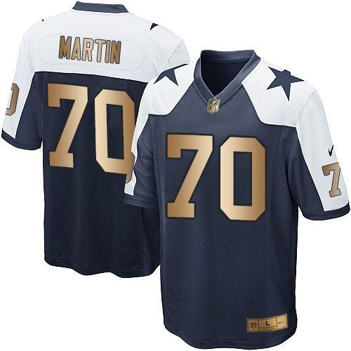 3523cb4f9c6 Nike Dallas Cowboys Youth #70 Zack Martin Elite Navy/Gold Alternate  Throwback NFL Jersey