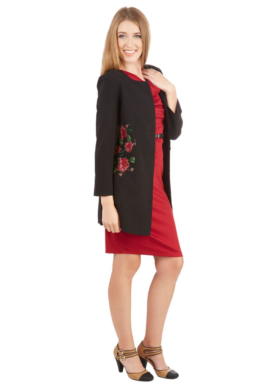 Design Convention Coat. This collarless coat from Darling is the perfect topper to all your network-ready looks! #black #modcloth