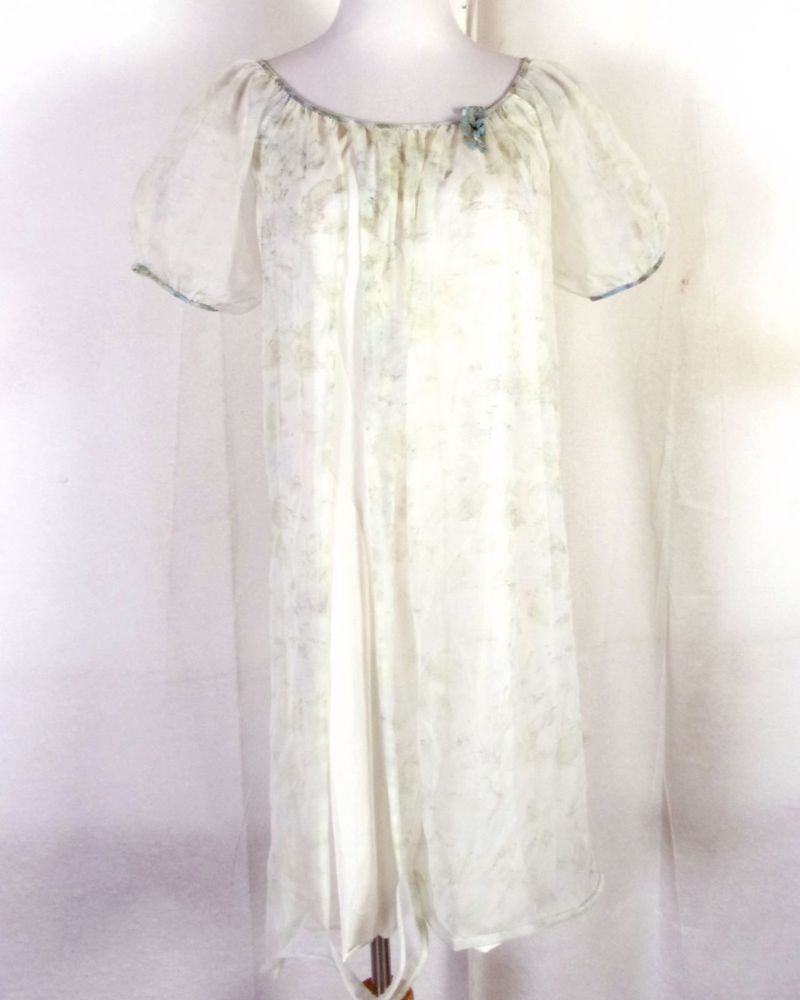 vtg 40s 50s Fantasy Pastel Green Floral Sheer Double Chiffon Peignoir  Lingerie S 7912ca22b