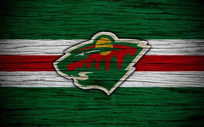 Minnesota Wild, 4k, NHL, hockey club, Western Conference, USA, logo, wooden texture, hockey, Central Division