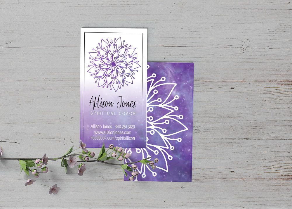 Spiritual Business Card, mandala, purple, healer, chakra, yoga ...