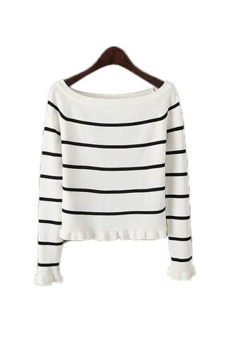 Goodnight Macaroon 'Vicky' Off The Shoulder Stripe Sweater | Stuff ...