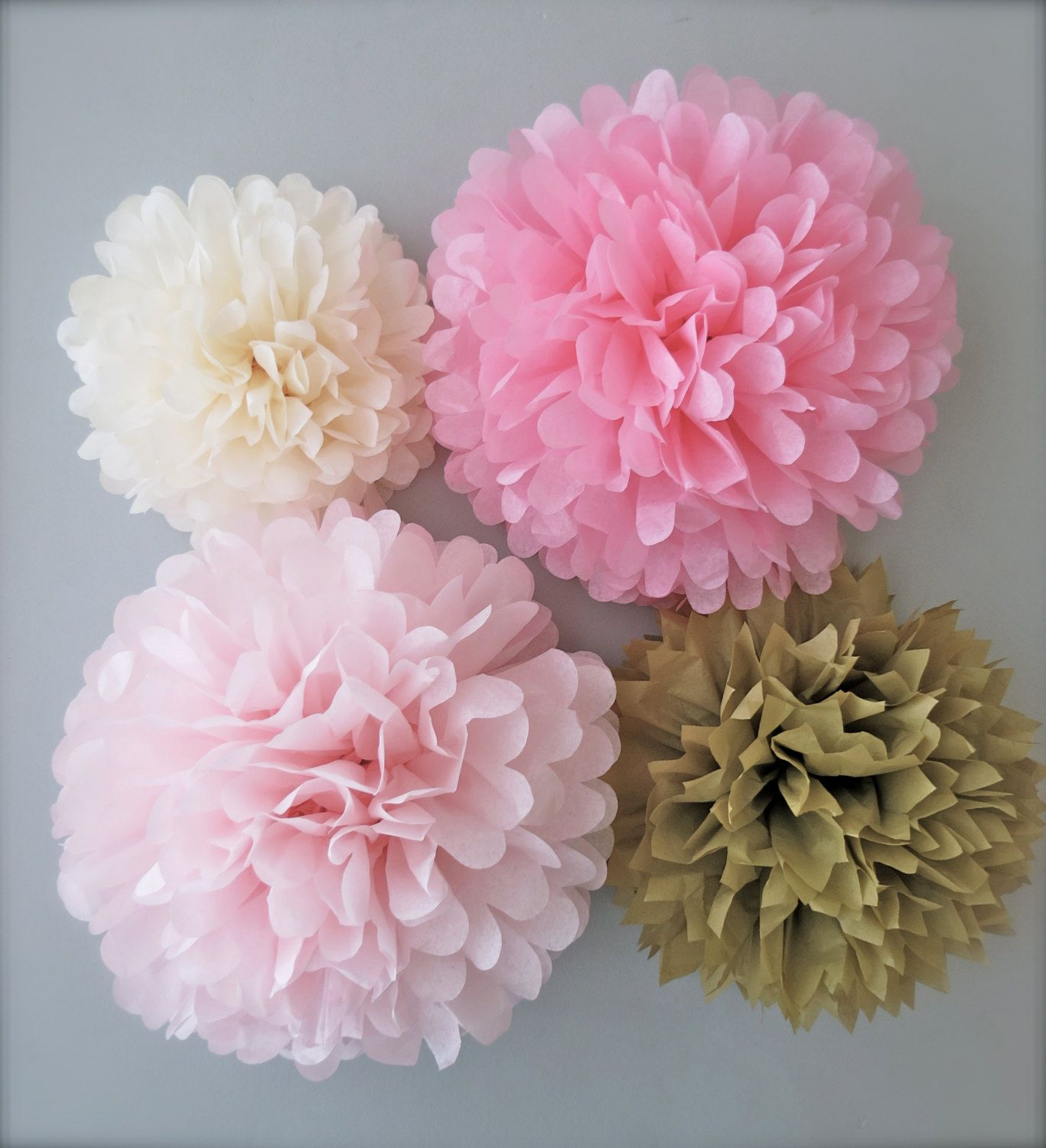 Pink Gold Tissue Paper Pom Poms 4 Piece By Prettywithsprinkles 15 50 Pink And Gold Decorations Pink Gold Party Gold Baby Showers