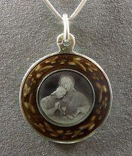 French Antique Religious Pendant. Jesus Christ Communion. Sterling Enamel Medal.