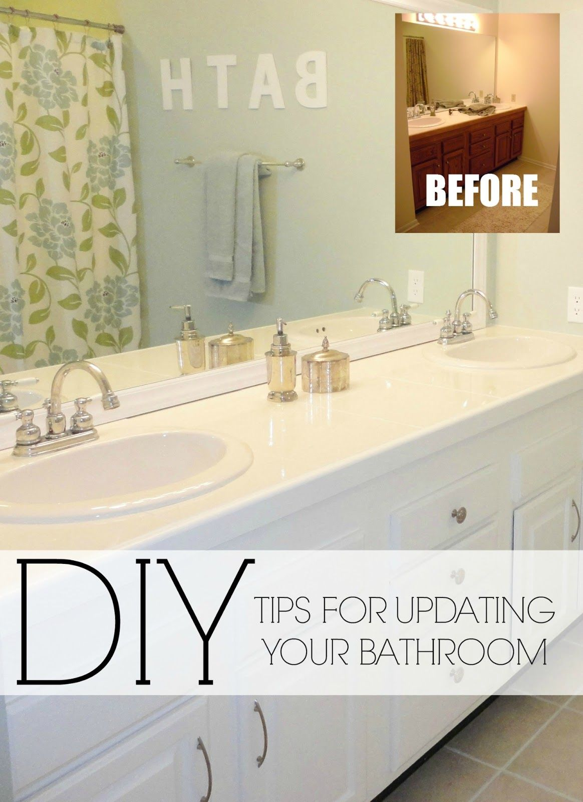 Easy Diy Ideas For Updating Older Bathrooms So Many Great Ideas Including How To Paint Tile Grout And How To Frame In A Mirror