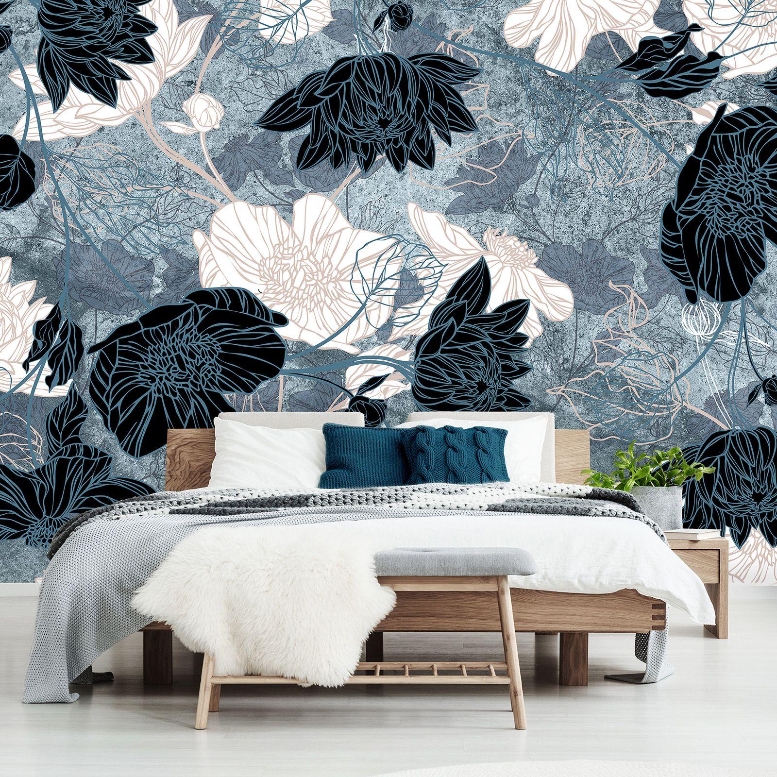 Floral Wallpaper Flowers On Wall Floral Print Mural Interior Design Wallpaper Self Adhesive Wal Photo Mural Wall Wallpaper Interior Design Floral Wallpaper