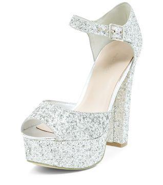 Silver Glitter Ankle Strap Platform Block Heels