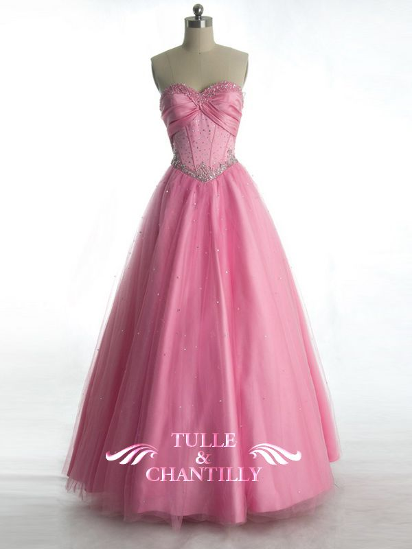 Fairytale Pink Tulle Sequin Princess Ball Gown with Sparkling ...