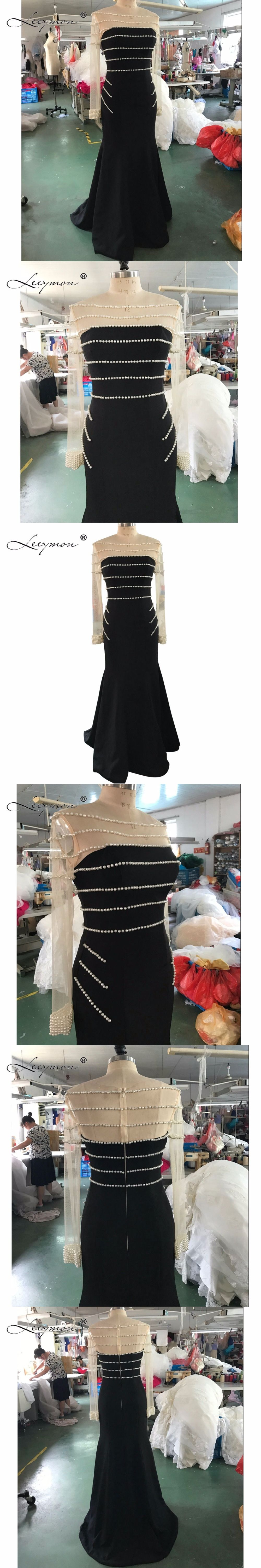Leeymon long sleeves black prom dress mermaid crepe prom dress