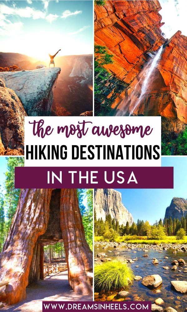 Searching for the best hiking destinations in the US? We got you covered with this list of some of the best hiking trails in the US! These wonderful hiking trips, also happen to be perfect for almost any season! There's nothing like breathing in the beautiful clean, crisp air and for taking to the hills |USA Travel | Outdoor Travel | Nature Lovers | Outdoor Living | USA Road Trip | Road Trip USA | USA Bucket List | Hiking Photography | Nature Hike | hiking outfit | Hike #USAtravel #dreamsinheels