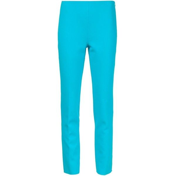Michael Kors cropped trousers (505 KWD) ❤ liked on Polyvore featuring pants, capris, blue, blue crop pants, stretch pants, blue stretch pants, michael kors and michael kors pants