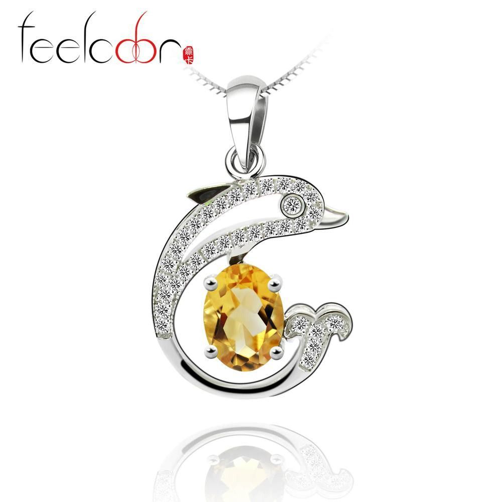Halo Shining Dolphin Citrine Gemstone Pendant Solid 925 Sterling Silver Women Romantic Oval Cut Yellow Citrine Jewelry On Sale
