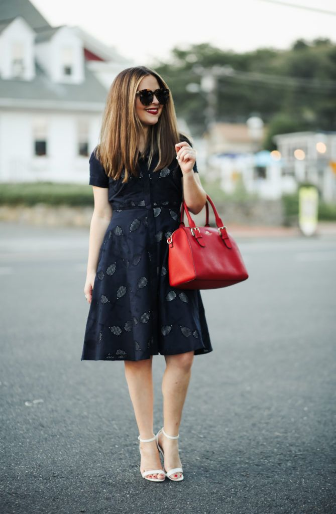 df5fae0876 dress cori lynn. Navy printed shirt dress+white ankle strap heeled  sandals+red handbag+sunglasses. Summer Dressy Casual Outfit 2017