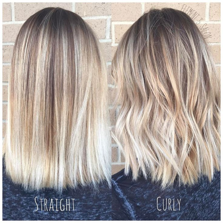 Bright Blonde Balayage Styled Straight And Curly Short