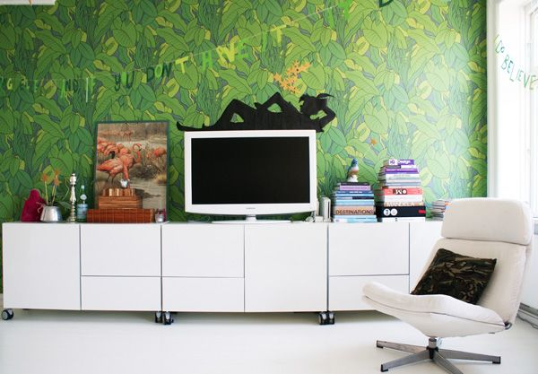 That Retro Jungle Leafy Wallpaper Is So Rad, And Such An Awesome Contrast  With The Stark White Furniture. Peter Panu0027s Shadow Is Cute.