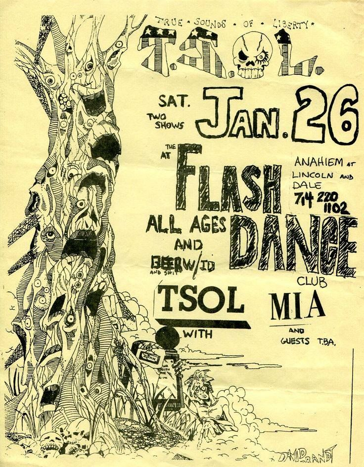 Another T.S.O.L. flyer I did where I no longer own the original artwork.