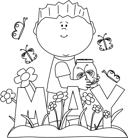 Black And White Month Of May Spring Coloring Pages Spring Coloring Sheets Flower Coloring Pages