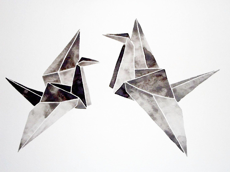 Watercolor Original Origami Painting Artwork Black White