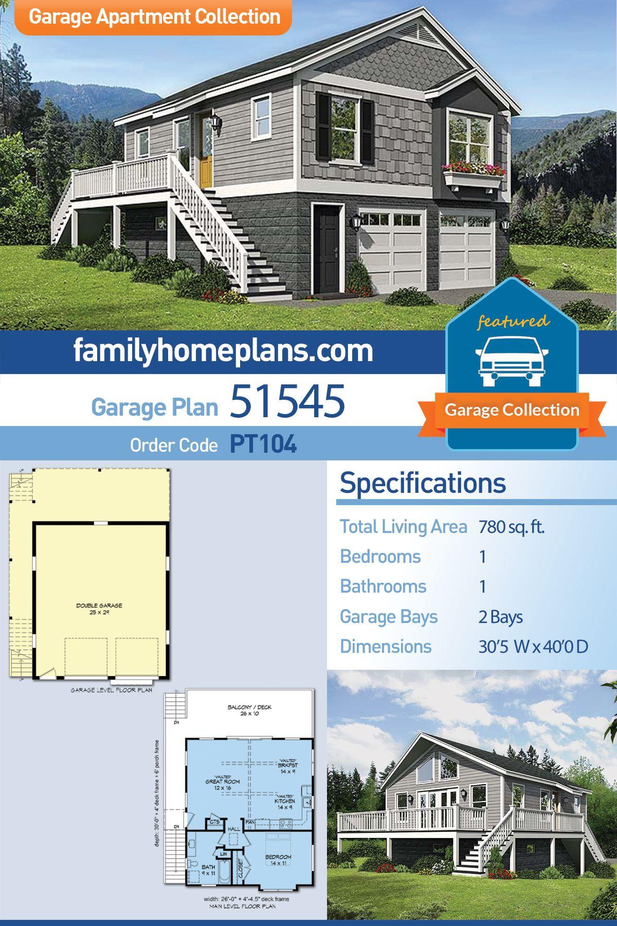 Garage Living Plan 51545 With 1 Bed 1 Bath 2 Car Garage Building A Garage Garage Apartment Plan Garage Plans Detached