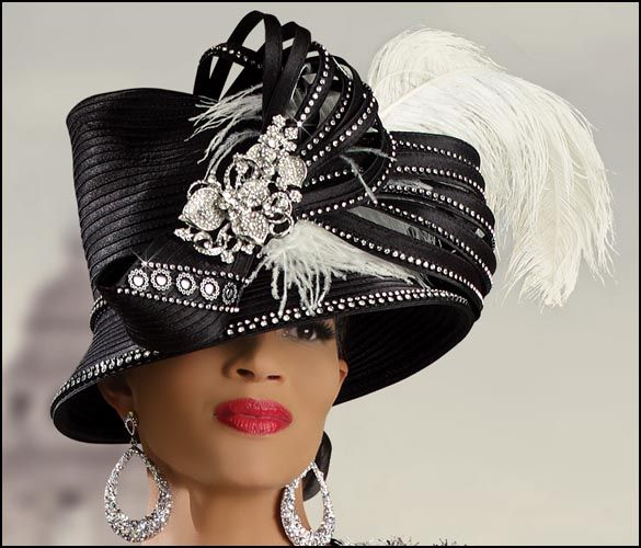 a262476df Designer First Lady Church Hat in Black with Rhinestones and ...