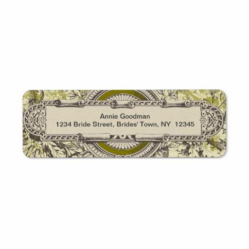 Vintage Return Address Labels Green Grey Cream