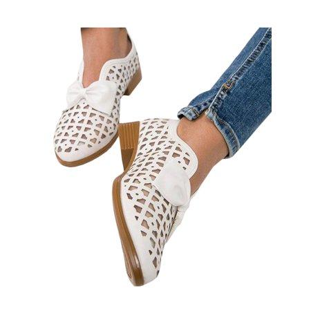 lallc  women's hollow block bowknot pointed toe flat
