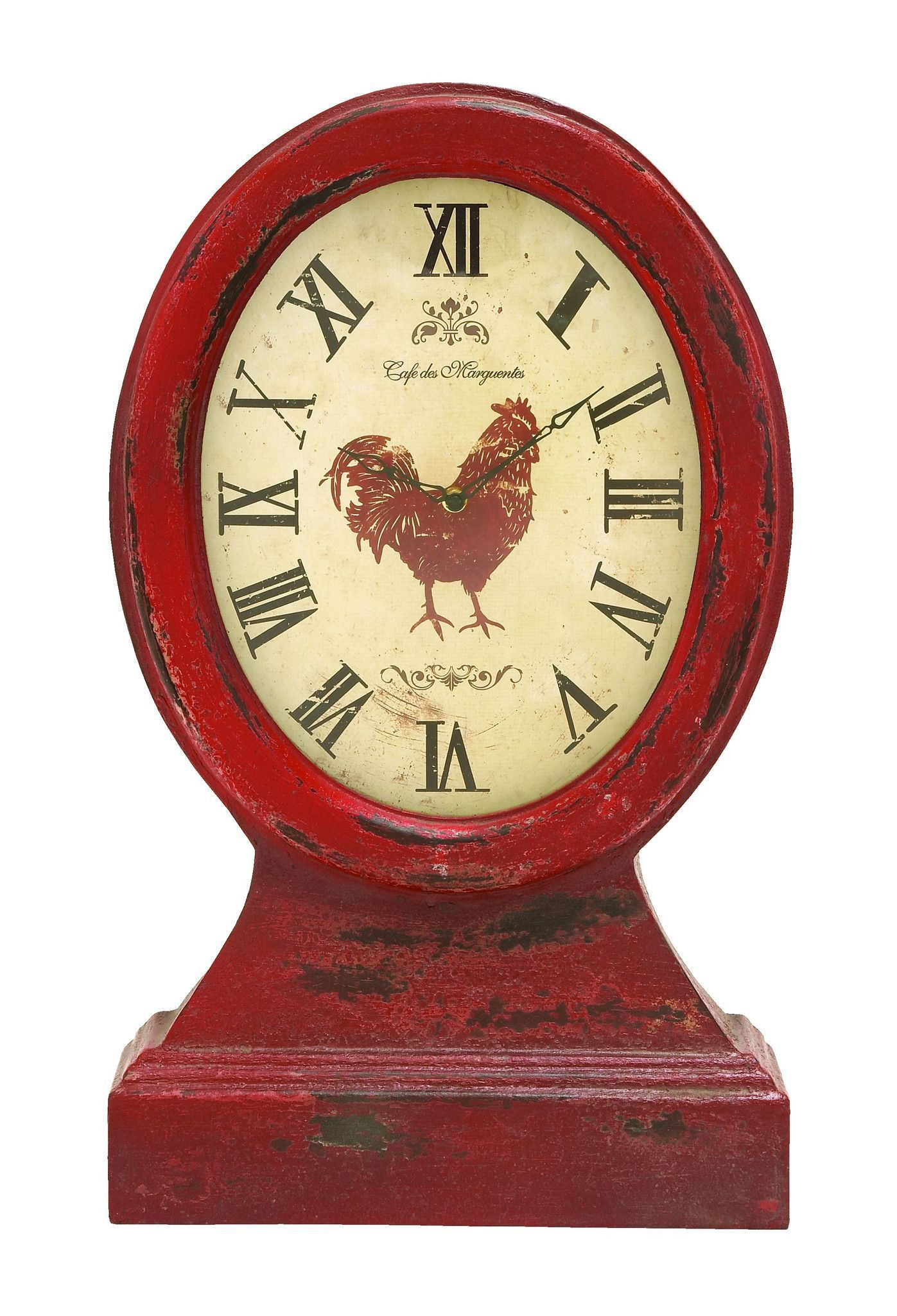 Farmer Themed Table Top Clock In Vintage Wood | Rooster kitchen ...