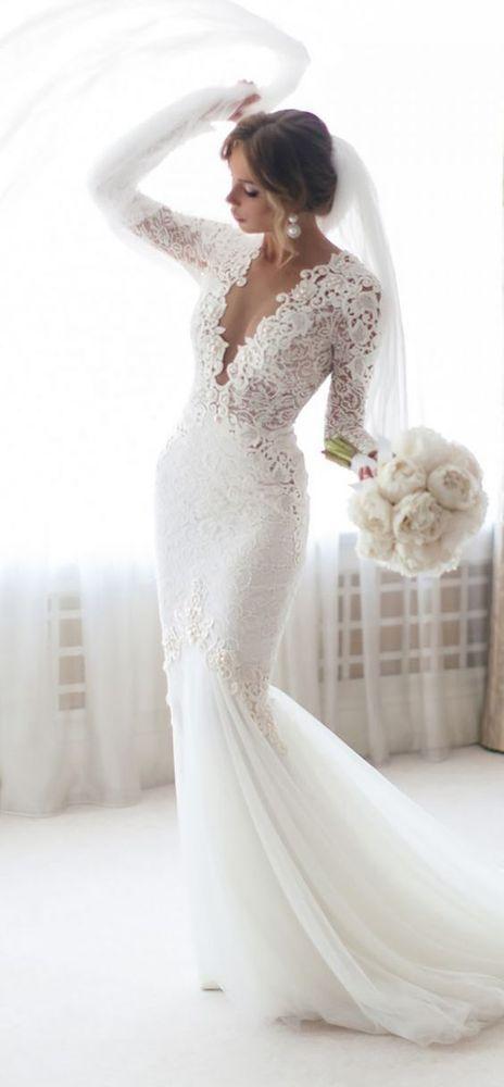 Photo of Meerjungfrau Sheer Long Sleeve Lace Brautkleider Sheer Ausschnitt Brautkleider -…