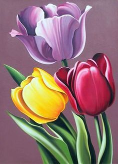 Lowell Blair Nesbitt, Tulipa Hybrida, Oil Painting
