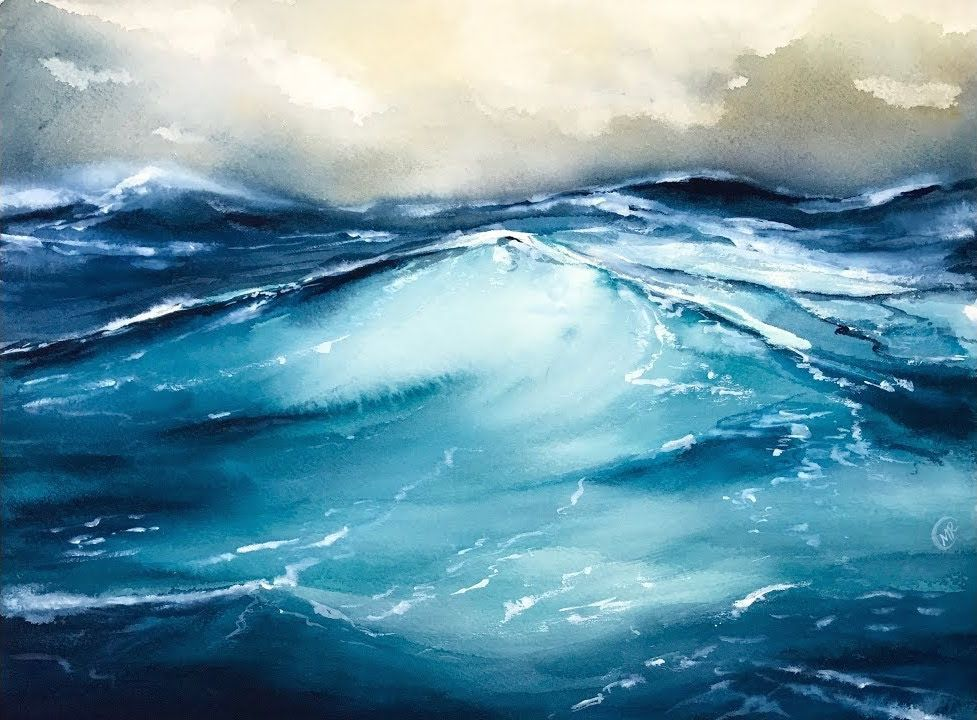 Maria Raczynska Watercolour Demo Waves At Sea 2 Painting