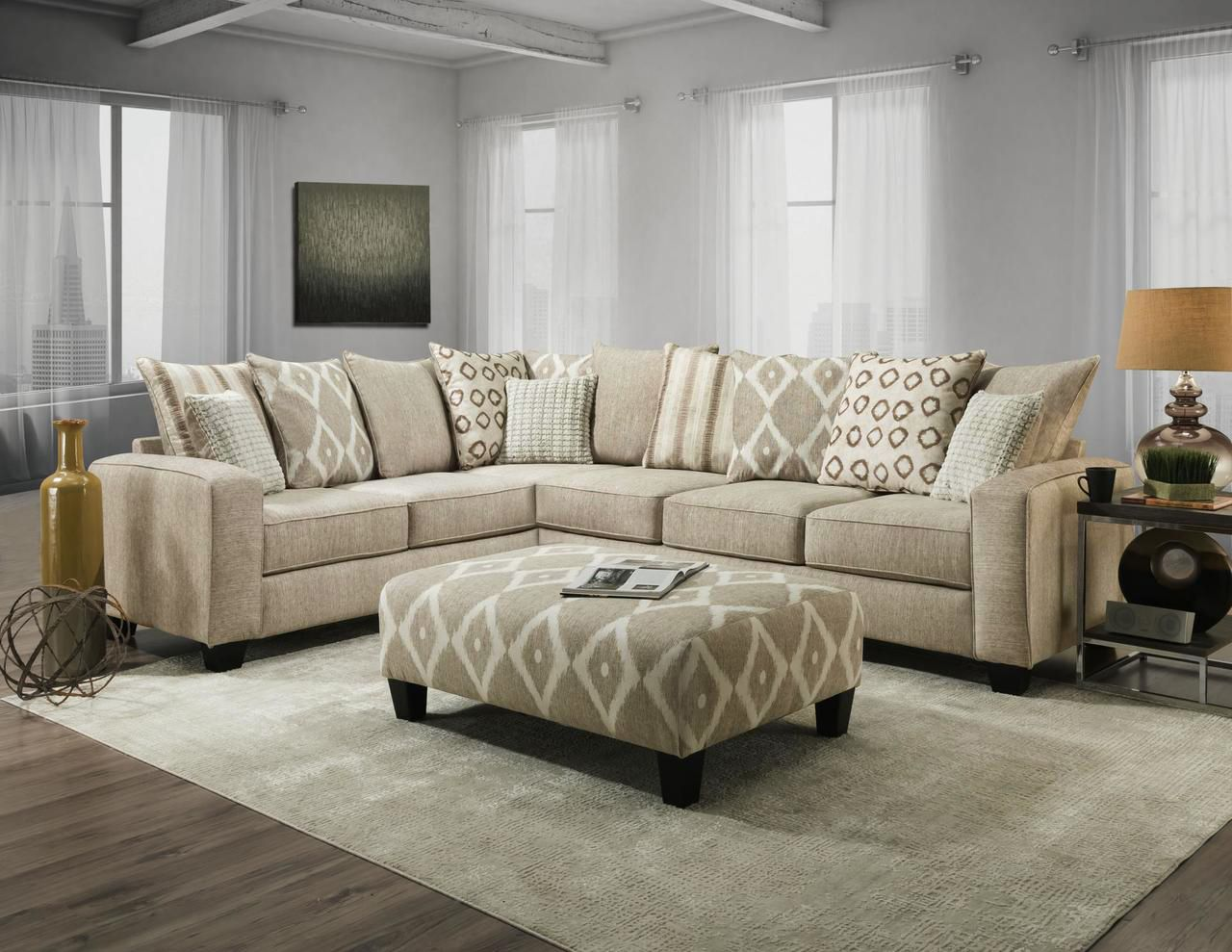 Albany Stonewash Flax Sectional Sofa In 2020 Sectional Sofas Living Room Sectional Sofa Accent Pillows Living Room