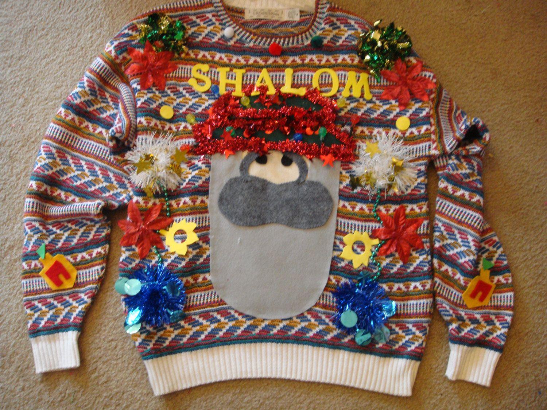 Deb\'s handmade lights up ugly christmas sweater black cow woman\'s ...