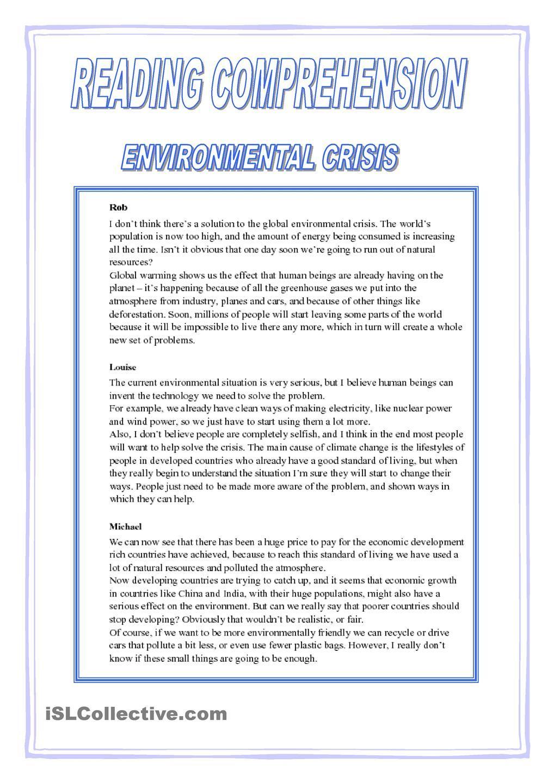 Environmental Crisis Ecology Pinterest Reading Comprehension