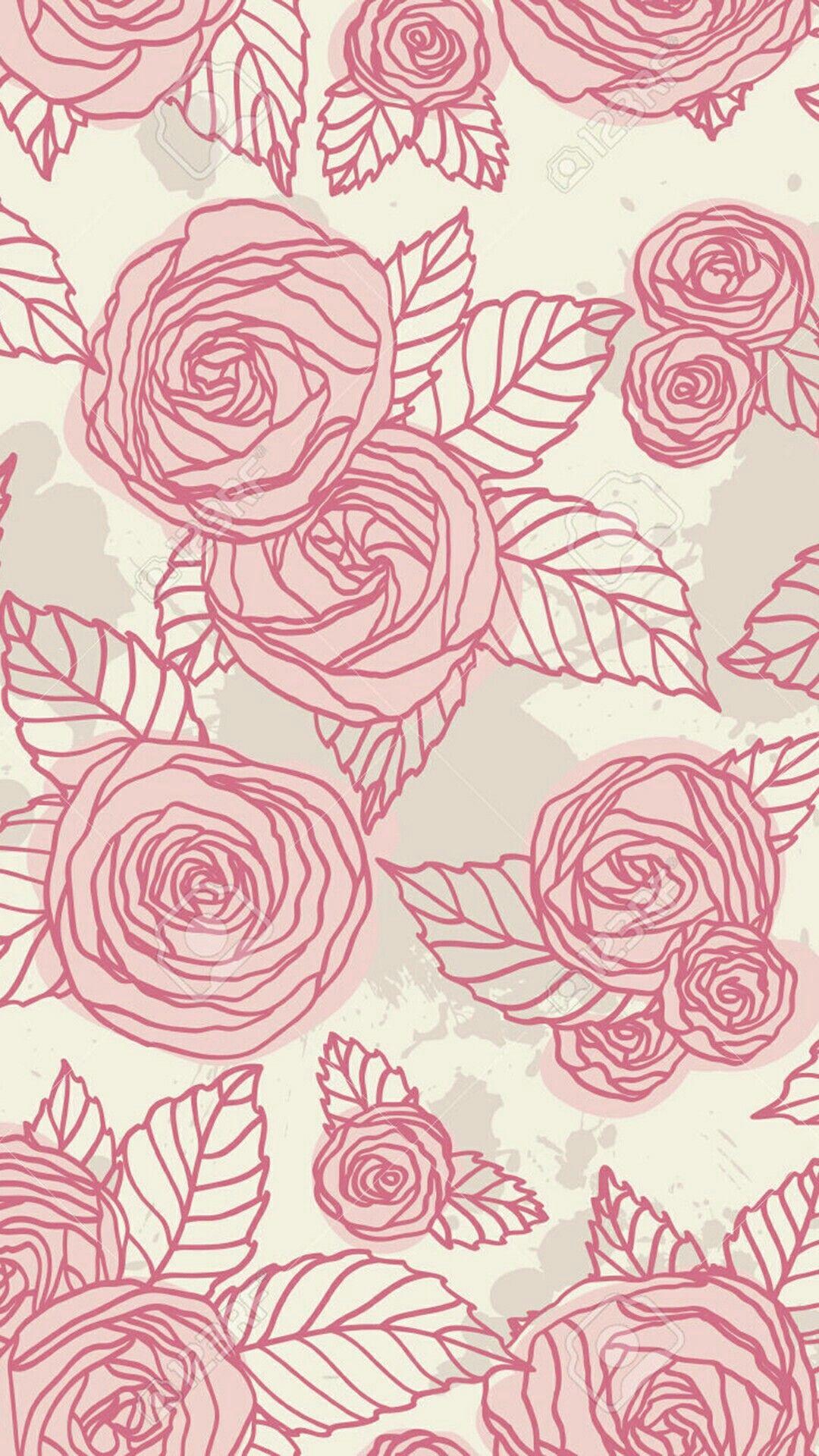 Rosa Wallpaper Lockscreen Padrao Vintage Iphone