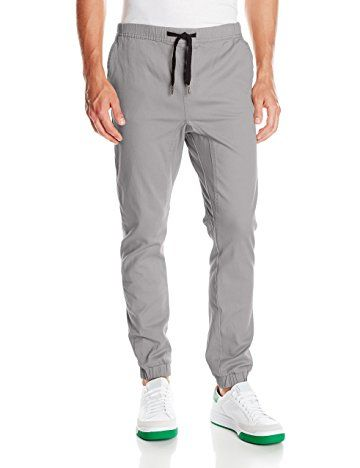WT02 Mens Jogger Pants in Basic Solid Colors and Stretch Twill Fabric