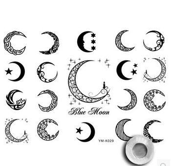 Tribal Moon Tattoos Unisex Moon And Star Tattoo Art Primitive Tribal Sun Temporary Tattoo With Images Moon Star Tattoo Star Tattoos Moon Tattoo Designs