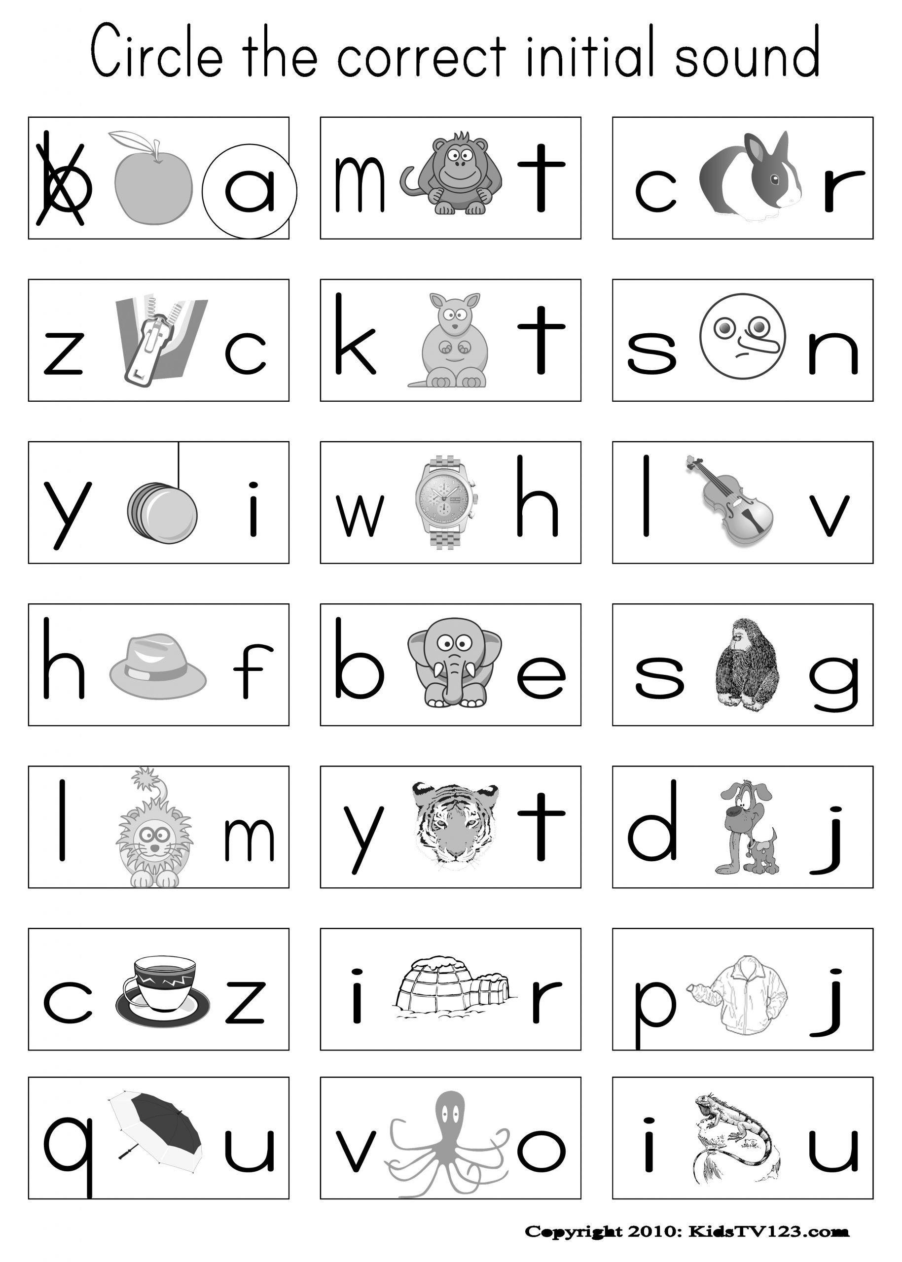 Beginning Sounds Worksheets For Kindergarten Middle Sounds