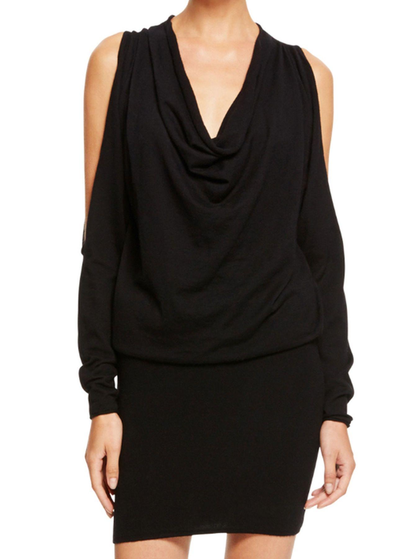Donna Karan cold shoulder sleeved black dress