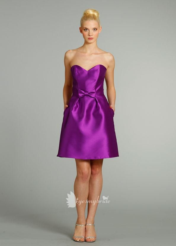 purple satin strapless sweetheart neck a-line knee length bridesmaid ...