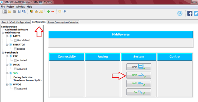 Select the Selected Pins in Configuration tab of STM32CubeMX