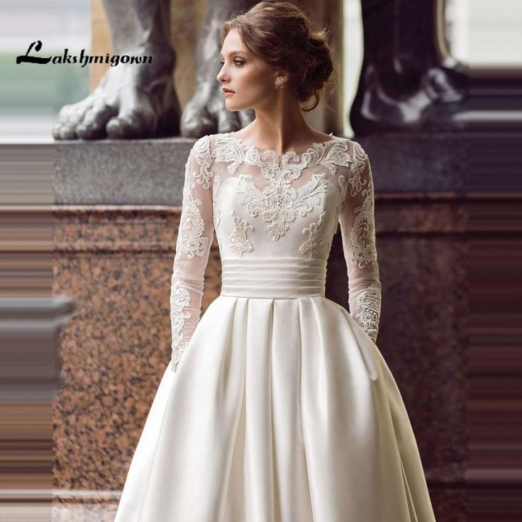 Modest Long Sleeve Brautkleider Turkey Scoop Satin Maßarbeit #fashiondresses