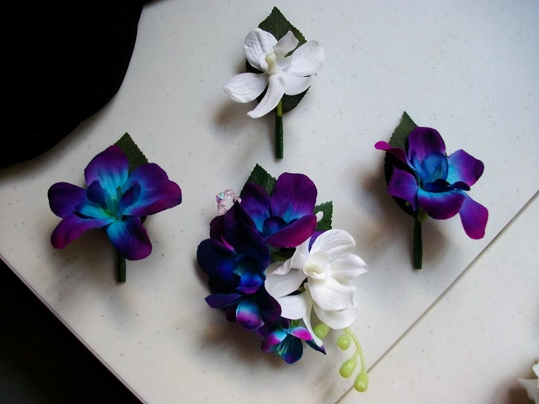Hand Dyed Blue Purple And White Orchid Onholes Corsage Love The Color