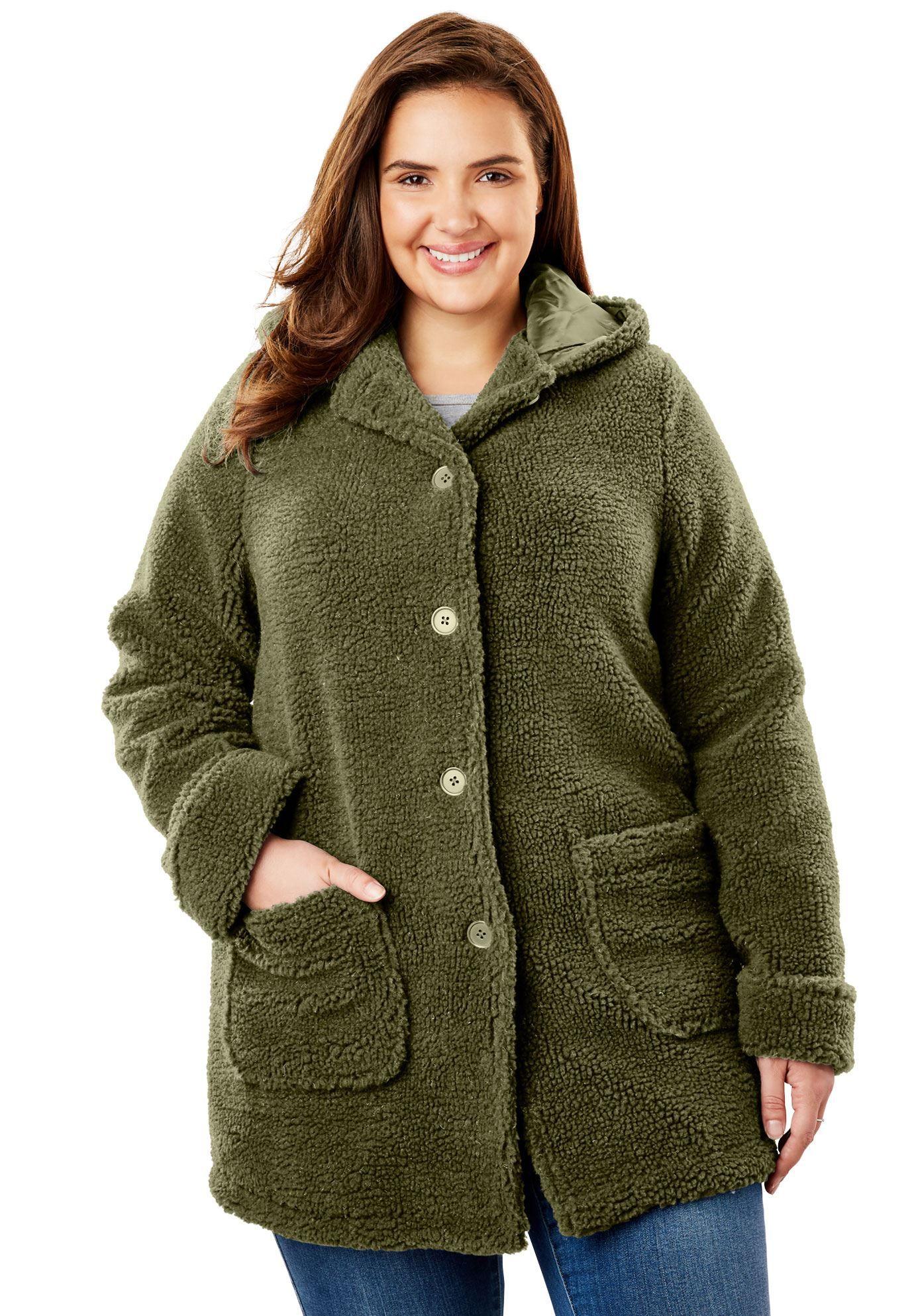 Hooded berber fleece jacket womenus plus size clothing products